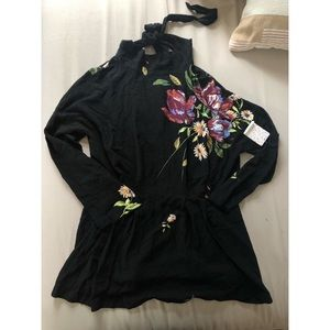 NWT Free People Floral Blouse Sz L